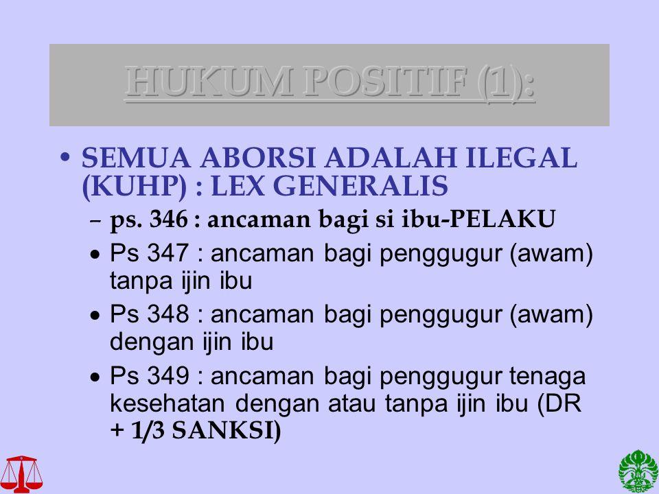 SEMUA ABORSI ADALAH ILEGAL (KUHP) : LEX GENERALIS – ps. 346 : ancaman bagi si ibu-PELAKU  Ps 347 : ancaman bagi penggugur (awam) tanpa ijin ibu  Ps