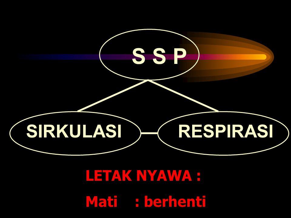 SIRKULASIRESPIRASI LETAK NYAWA : Mati : berhenti S S P