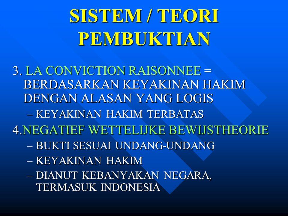 SISTEM / TEORI PEMBUKTIAN 3. LA CONVICTION RAISONNEE = BERDASARKAN KEYAKINAN HAKIM DENGAN ALASAN YANG LOGIS –KEYAKINAN HAKIM TERBATAS 4.NEGATIEF WETTE
