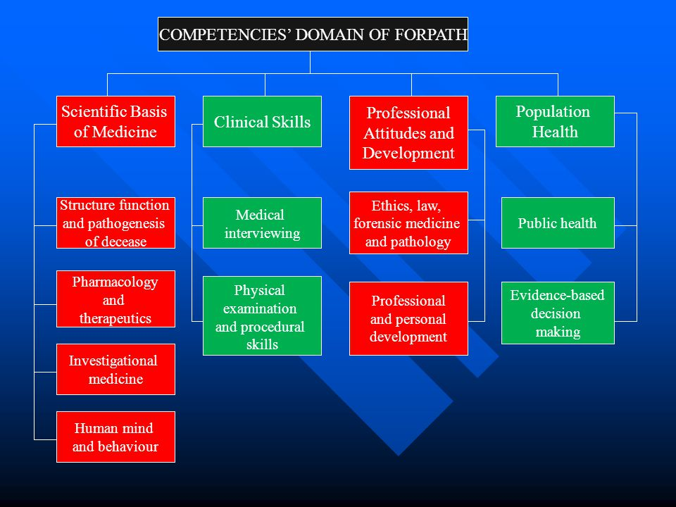 COMPETENCIES' DOMAIN OF FORPATH Scientific Basis of Medicine Clinical Skills Professional Attitudes and Development Population Health Physical examina