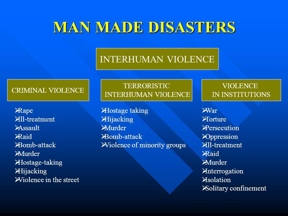 MAN MADE DISASTERS INTERHUMAN VIOLENCE TERRORISTIC INTERHUMAN VIOLENCE VIOLENCE IN INSTITUTIONS CRIMINAL VIOLENCE  Rape  Ill-treatment  Assault  R