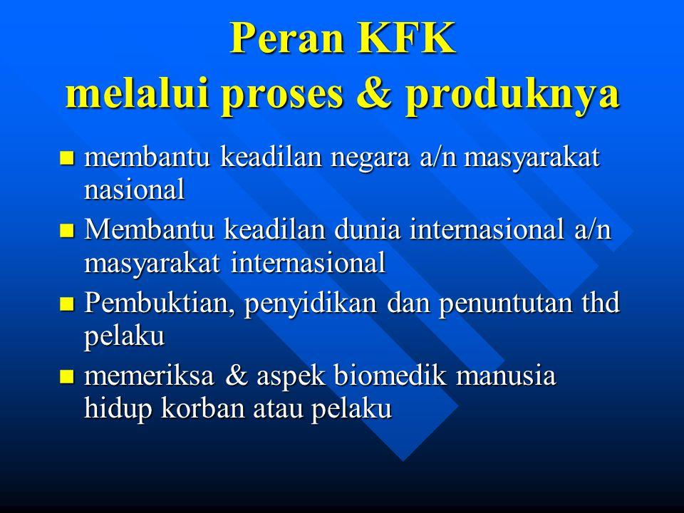 Peran KFK melalui proses & produknya n membantu keadilan negara a/n masyarakat nasional n Membantu keadilan dunia internasional a/n masyarakat interna