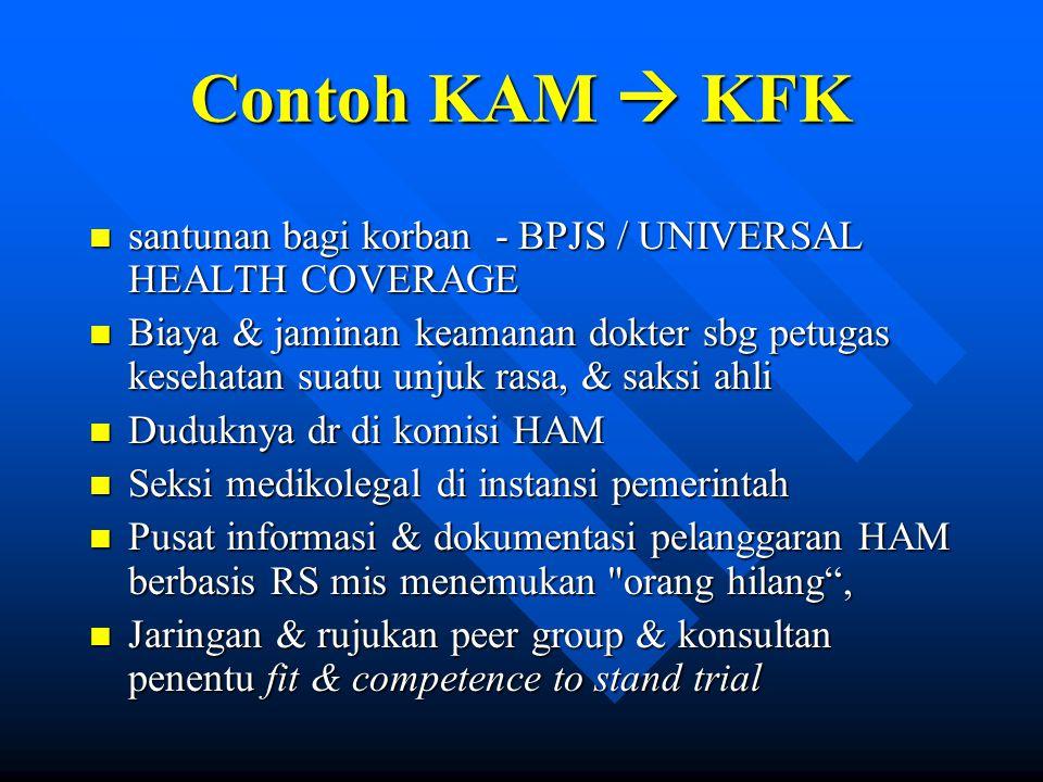 Contoh KAM  KFK n santunan bagi korban - BPJS / UNIVERSAL HEALTH COVERAGE n Biaya & jaminan keamanan dokter sbg petugas kesehatan suatu unjuk rasa, &