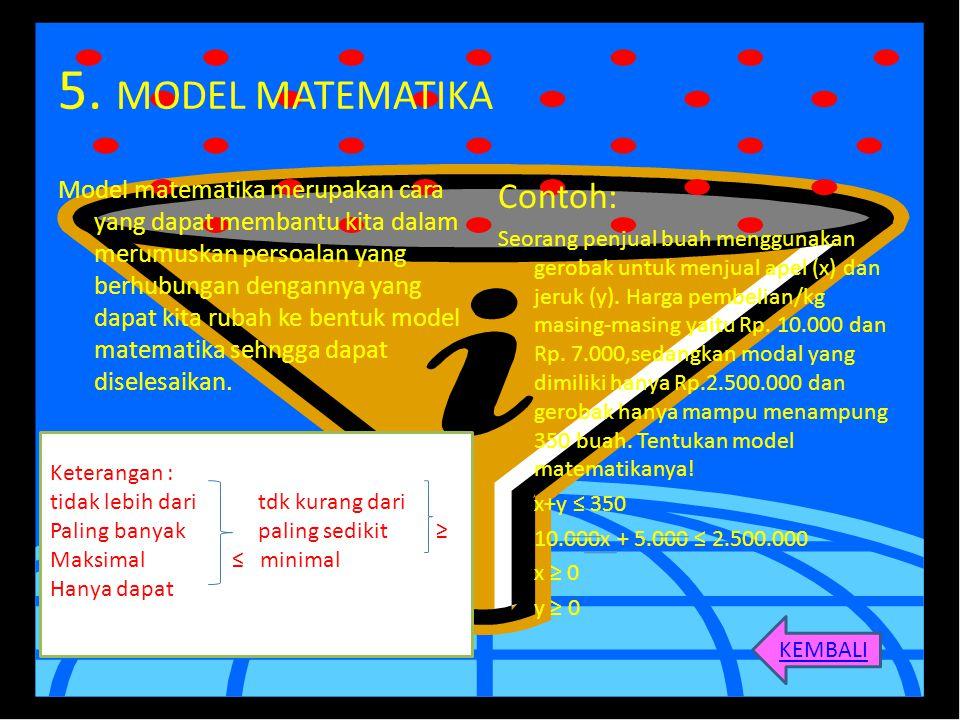 5. MODEL MATEMATIKA Model matematika merupakan cara yang dapat membantu kita dalam merumuskan persoalan yang berhubungan dengannya yang dapat kita rub