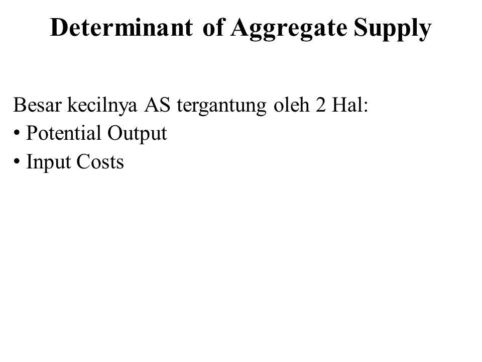 Determinant of Aggregate Supply Besar kecilnya AS tergantung oleh 2 Hal: Potential Output Input Costs