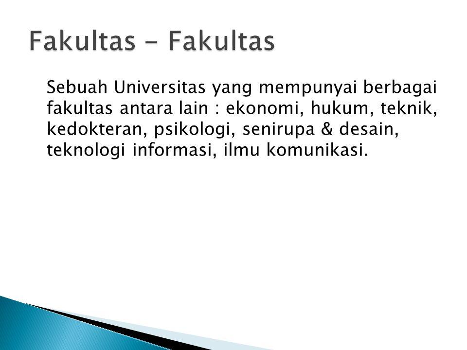 Sebuah Universitas yang mempunyai berbagai fakultas antara lain : ekonomi, hukum, teknik, kedokteran, psikologi, senirupa & desain, teknologi informas