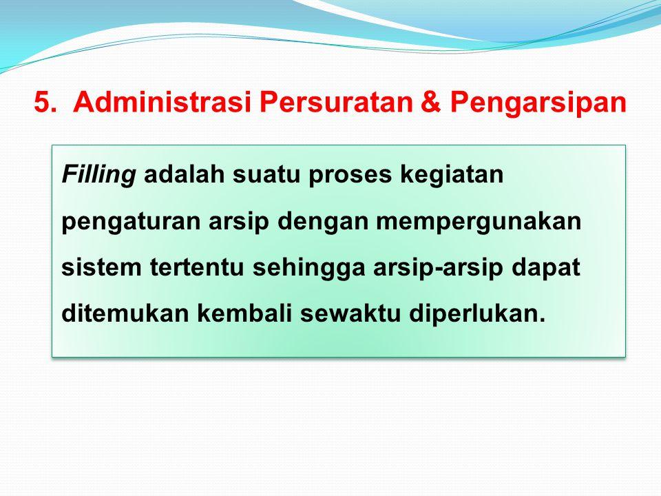 5. Administrasi Persuratan & Pengarsipan Filling adalah suatu proses kegiatan pengaturan arsip dengan mempergunakan sistem tertentu sehingga arsip-ars