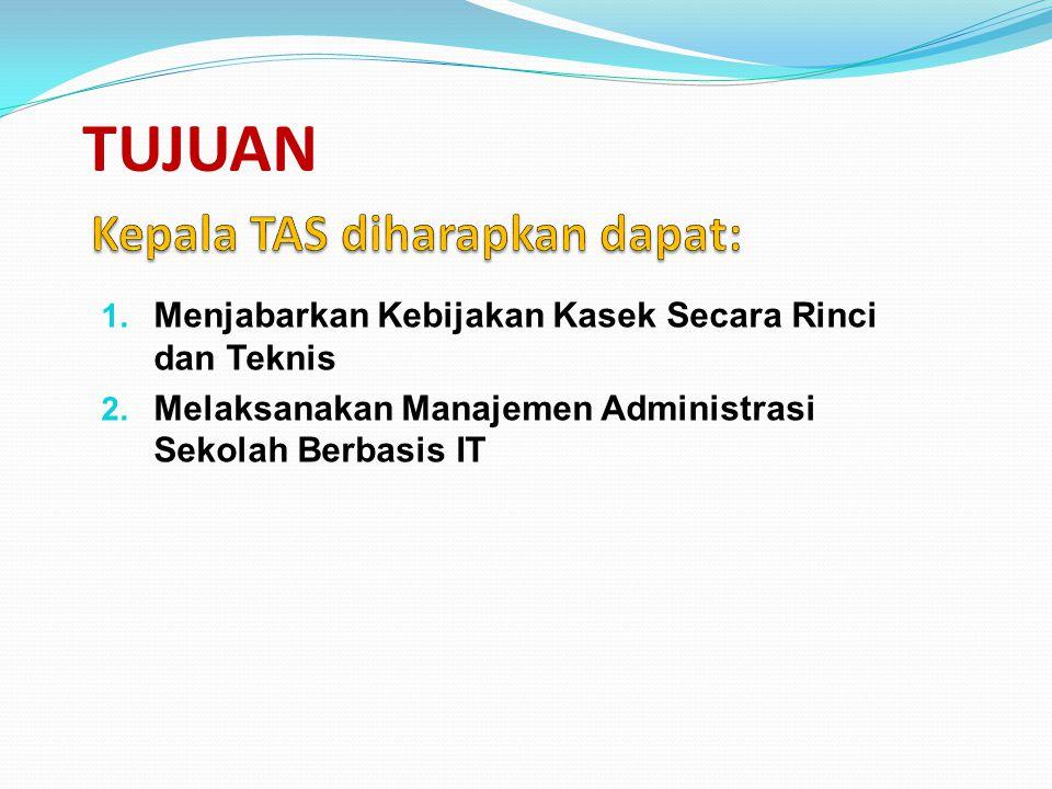 TUJUAN 1. Menjabarkan Kebijakan Kasek Secara Rinci dan Teknis Administrasi Sekolah Berbasis IT 2. Melaksanakan Manajemen Administrasi Sekolah Berbasis
