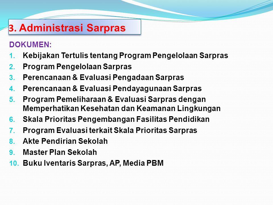 DOKUMEN: 1. Kebijakan Tertulis tentang Program Pengelolaan Sarpras 2. Program Pengelolaan Sarpras 3. Perencanaan & Evaluasi Pengadaan Sarpras 4. Peren