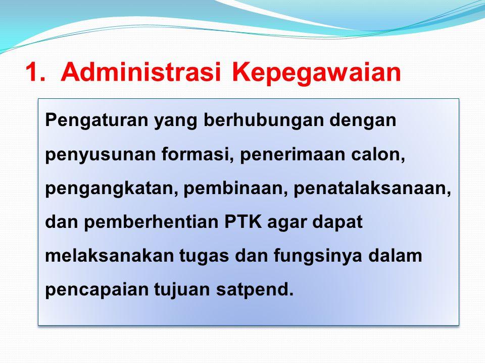 1. Administrasi Kepegawaian Pengaturan yang berhubungan dengan penyusunan formasi, penerimaan calon, pengangkatan, pembinaan, penatalaksanaan, dan pem