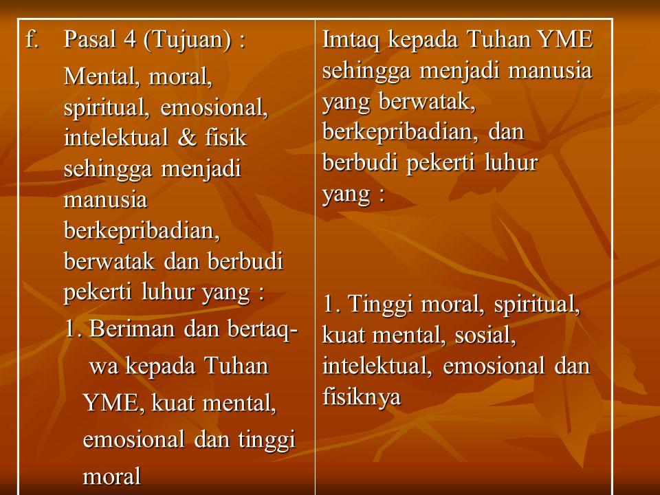 f.Pasal 4 (Tujuan) : Mental, moral, spiritual, emosional, intelektual & fisik sehingga menjadi manusia berkepribadian, berwatak dan berbudi pekerti lu