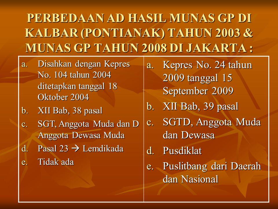 PERBEDAAN AD HASIL MUNAS GP DI KALBAR (PONTIANAK) TAHUN 2003 & MUNAS GP TAHUN 2008 DI JAKARTA : a.Disahkan dengan Kepres No. 104 tahun 2004 ditetapkan