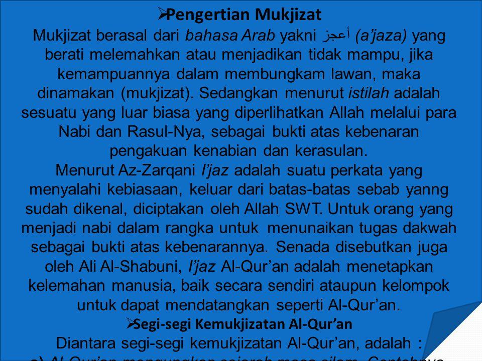  Pengertian Mukjizat Mukjizat berasal dari bahasa Arab yakni أعجز (a'jaza) yang berati melemahkan atau menjadikan tidak mampu, jika kemampuannya dalam membungkam lawan, maka dinamakan (mukjizat).