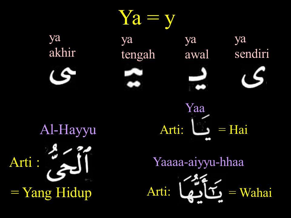 Ya = y ya awal ya sendiri ya tengah ya akhir Arti : Al-Hayyu = Yang Hidup Arti: = Hai Yaa Arti: Yaaaa-aiyyu-hhaa = Wahai