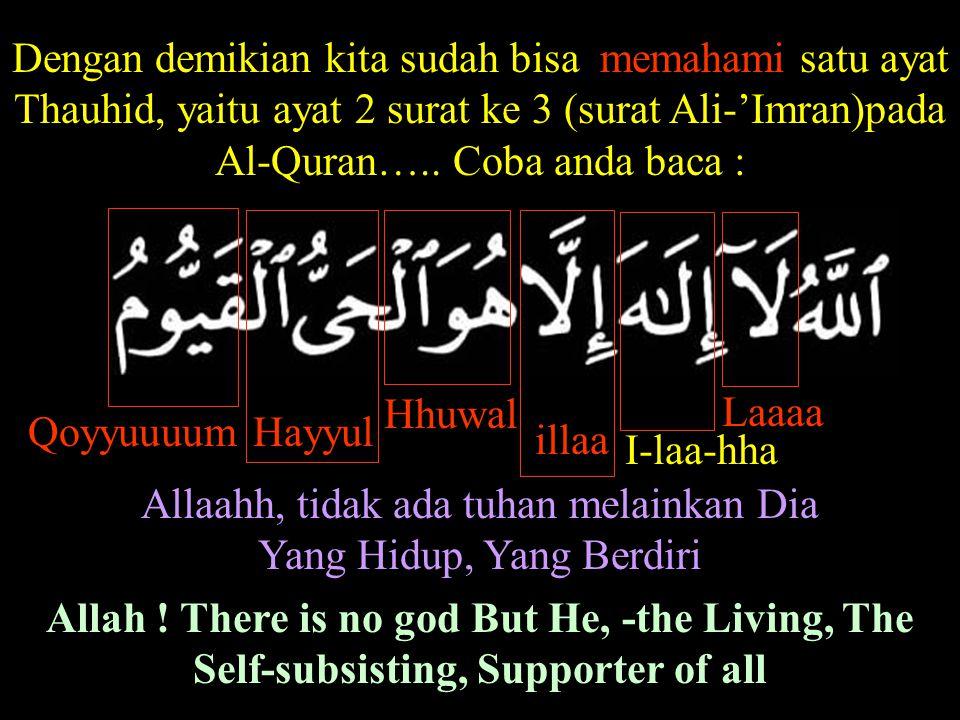 Dengan demikian kita sudah bisa memahami satu ayat Thauhid, yaitu ayat 2 surat ke 3 (surat Ali-'Imran)pada Al-Quran….. Coba anda baca : Laaaa Hhuwal H