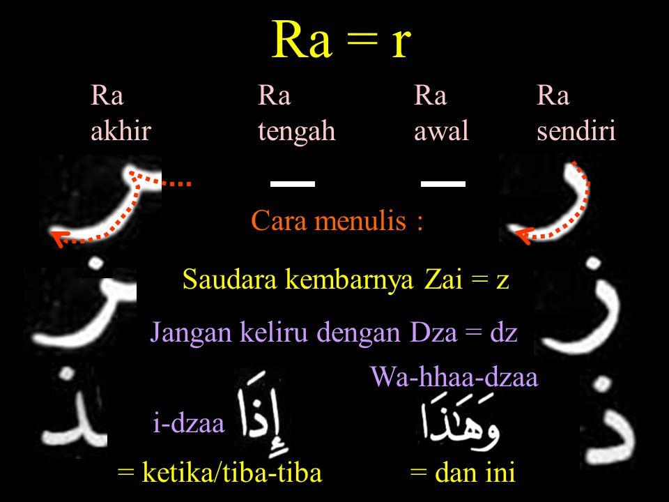 Ra = r Ra awal Ra sendiri Ra tengah Ra akhir Cara menulis : Saudara kembarnya Zai = z Jangan keliru dengan Dza = dz i-dzaa = ketika/tiba-tiba Wa-hhaa-