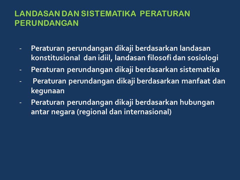 LANDASAN DAN SISTEMATIKA PERATURAN PERUNDANGAN -Peraturan perundangan dikaji berdasarkan landasan konstitusional dan idiil, landasan filosofi dan sosiologi -Peraturan perundangan dikaji berdasarkan sistematika - Peraturan perundangan dikaji berdasarkan manfaat dan kegunaan -Peraturan perundangan dikaji berdasarkan hubungan antar negara (regional dan internasional)