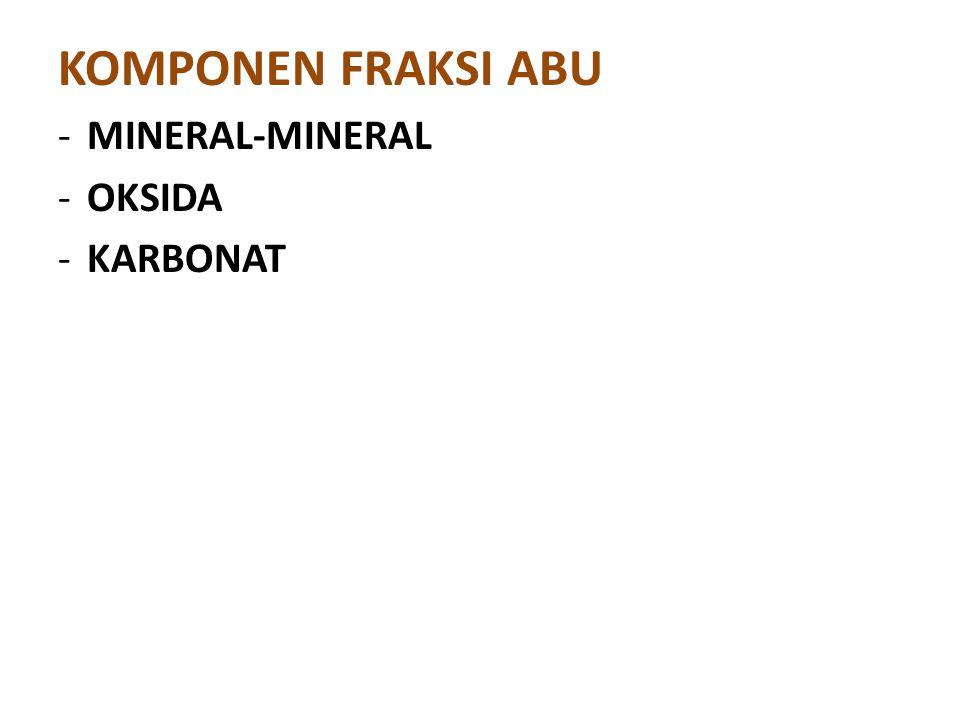 KOMPONEN FRAKSI ABU - MINERAL-MINERAL - OKSIDA - KARBONAT