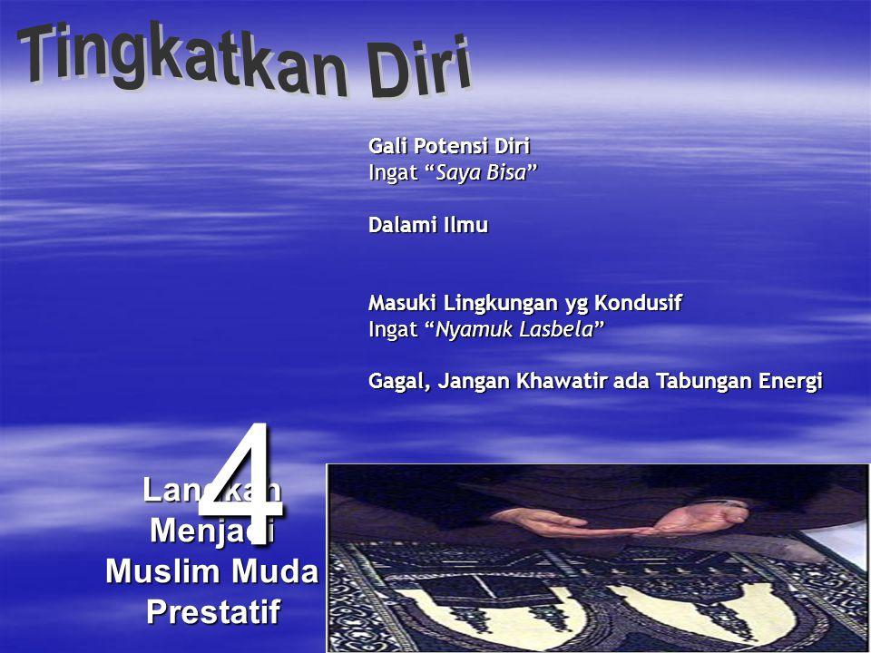 Langkah Menjadi Muslim Muda Prestatif 3 Tancapkan Motivasi Berbuat yang Kuat Ingat Piala-Pahala Berpikir untuk Berbuat yang Terbaik Ingat be your self Berbuat yang Terbaik Ingat be the best, not be asa Tawakkal Ingat insya Allah