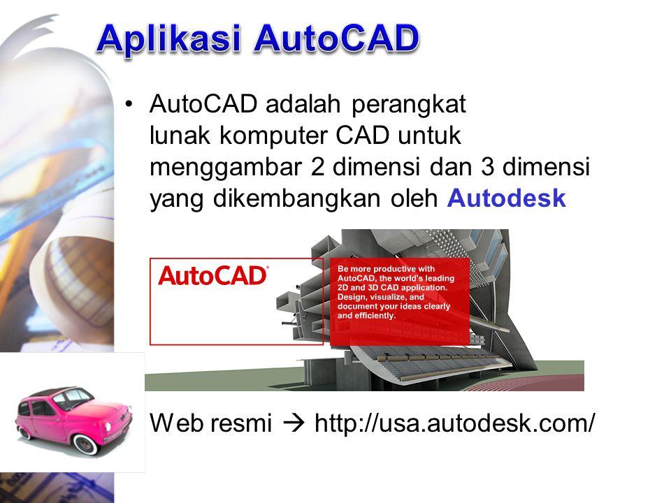 AutoCAD adalah perangkat lunak komputer CAD untuk menggambar 2 dimensi dan 3 dimensi yang dikembangkan oleh Autodesk Web resmi  http://usa.autodesk.c