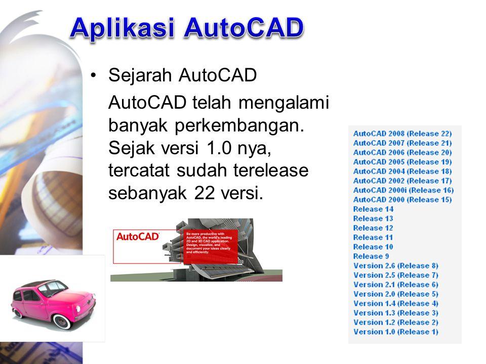 Sejarah AutoCAD AutoCAD telah mengalami banyak perkembangan. Sejak versi 1.0 nya, tercatat sudah terelease sebanyak 22 versi.