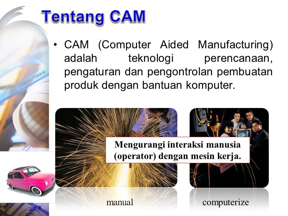 CAM (Computer Aided Manufacturing) adalah teknologi perencanaan, pengaturan dan pengontrolan pembuatan produk dengan bantuan komputer. manualcomputeri