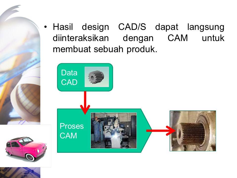 Hasil design CAD/S dapat langsung diinteraksikan dengan CAM untuk membuat sebuah produk. Data CAD Proses CAM