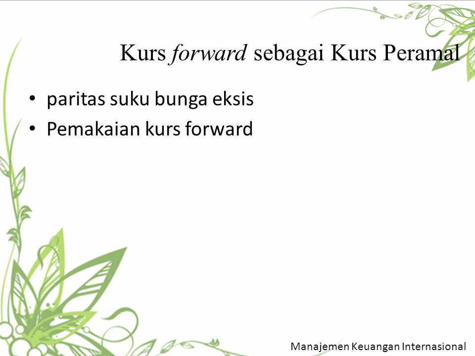 Kurs forward sebagai Kurs Peramal paritas suku bunga eksis Pemakaian kurs forward Manajemen Keuangan Internasional