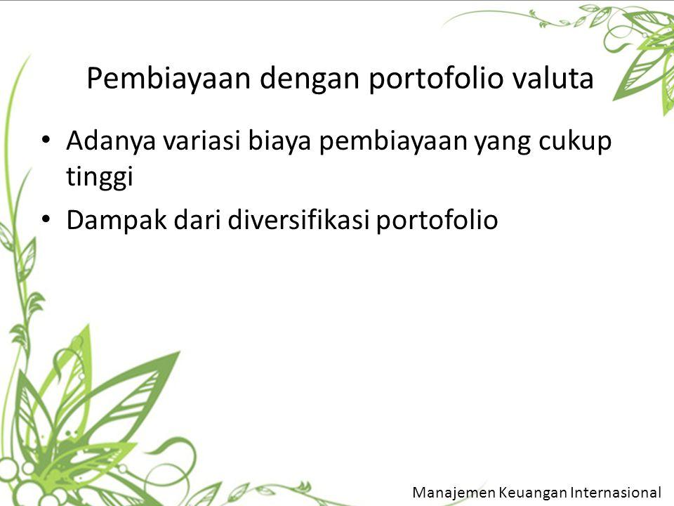 Pembiayaan dengan portofolio valuta Adanya variasi biaya pembiayaan yang cukup tinggi Dampak dari diversifikasi portofolio Manajemen Keuangan Internas
