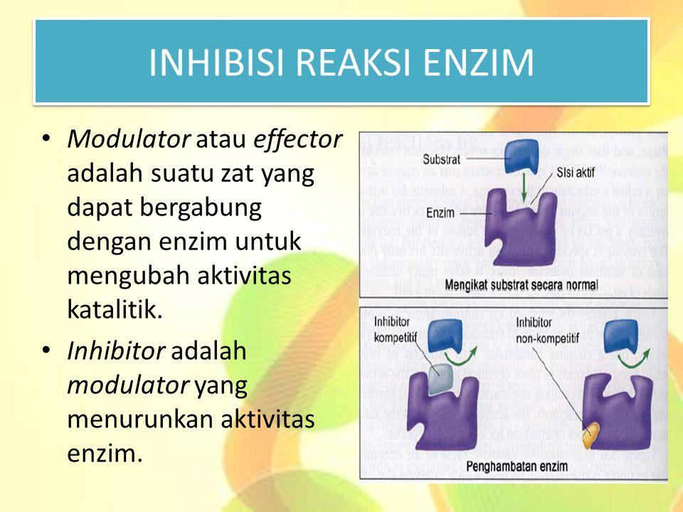 INHIBISI REAKSI ENZIM Modulator atau effector adalah suatu zat yang dapat bergabung dengan enzim untuk mengubah aktivitas katalitik. Inhibitor adalah