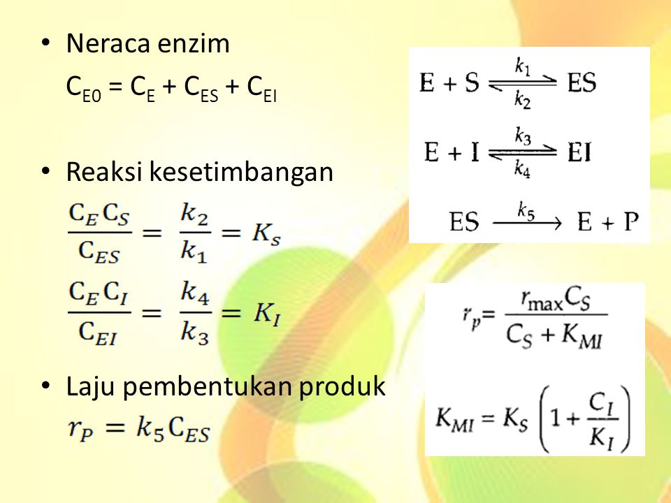 Neraca enzim C E0 = C E + C ES + C EI Reaksi kesetimbangan Laju pembentukan produk