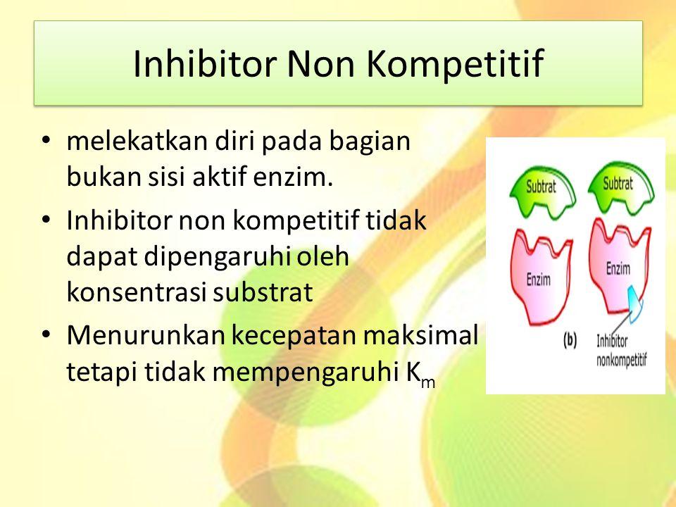 Inhibitor Non Kompetitif melekatkan diri pada bagian bukan sisi aktif enzim. Inhibitor non kompetitif tidak dapat dipengaruhi oleh konsentrasi substra