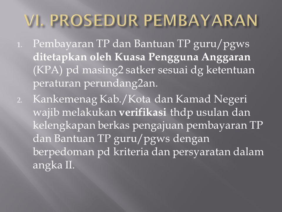 1. Pembayaran TP dan Bantuan TP guru/pgws ditetapkan oleh Kuasa Pengguna Anggaran (KPA) pd masing2 satker sesuai dg ketentuan peraturan perundang2an.