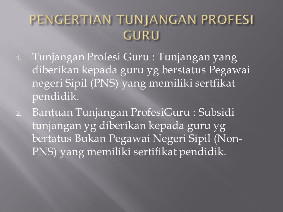 1. Tunjangan Profesi Guru : Tunjangan yang diberikan kepada guru yg berstatus Pegawai negeri Sipil (PNS) yang memiliki sertfikat pendidik. 2. Bantuan