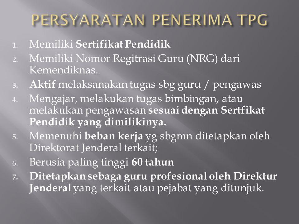 1.Memiliki Sertifikat Pendidik 2. Memiliki Nomor Regitrasi Guru (NRG) dari Kemendiknas.