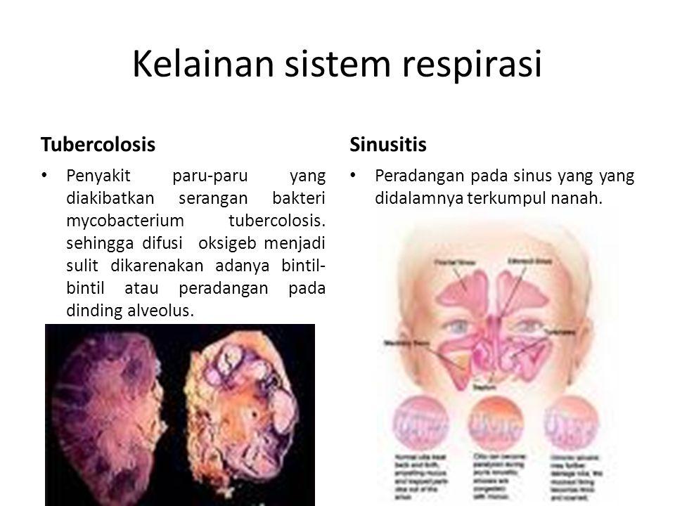 Kelainan sistem respirasi Tubercolosis Penyakit paru-paru yang diakibatkan serangan bakteri mycobacterium tubercolosis. sehingga difusi oksigeb menjad
