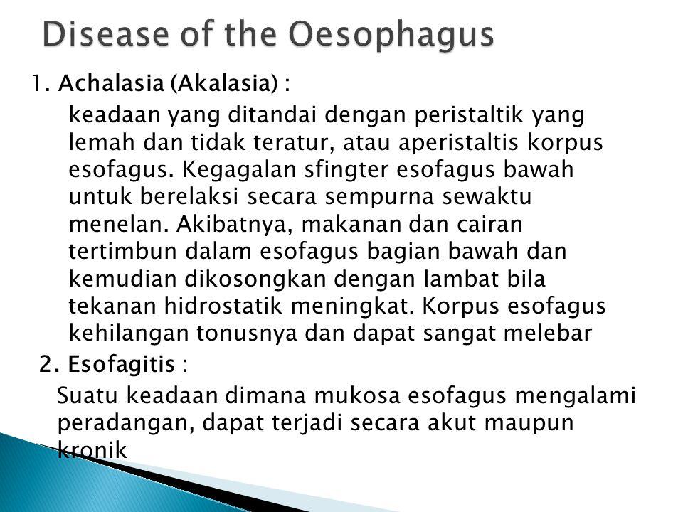 1. Achalasia (Akalasia) : keadaan yang ditandai dengan peristaltik yang lemah dan tidak teratur, atau aperistaltis korpus esofagus. Kegagalan sfingter