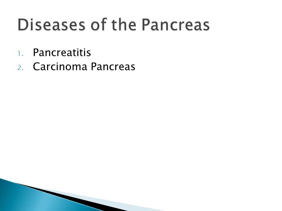 1. Pancreatitis 2. Carcinoma Pancreas