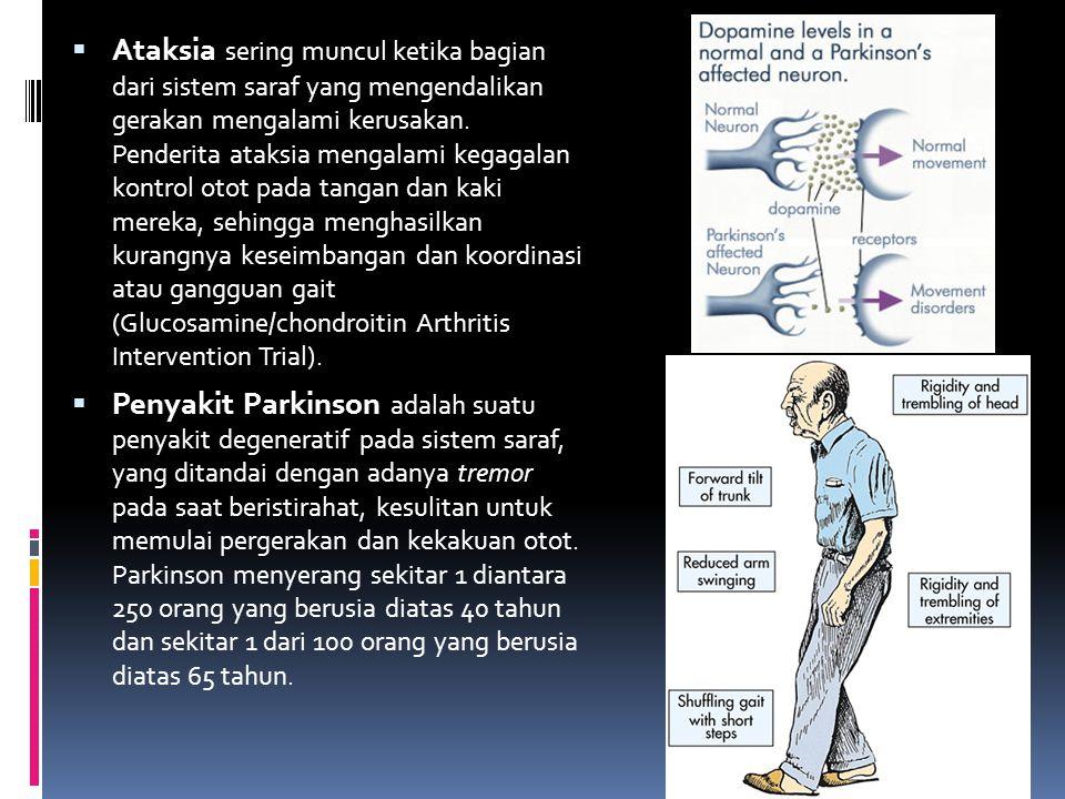  Ataksia sering muncul ketika bagian dari sistem saraf yang mengendalikan gerakan mengalami kerusakan. Penderita ataksia mengalami kegagalan kontrol