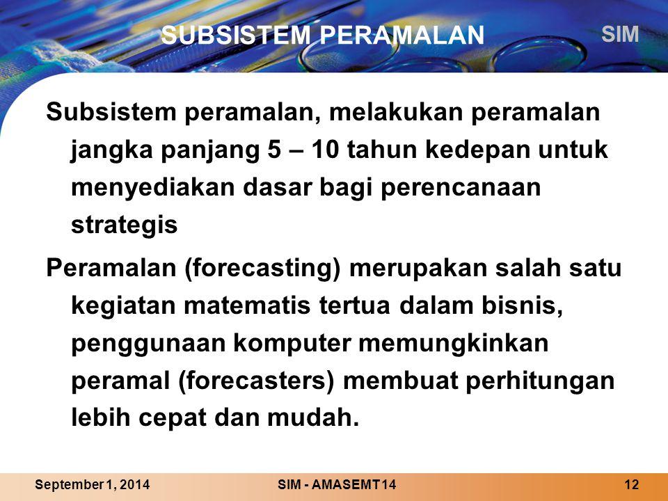 SIM SIM - AMASEMT 1412September 1, 2014 SUBSISTEM PERAMALAN Subsistem peramalan, melakukan peramalan jangka panjang 5 – 10 tahun kedepan untuk menyediakan dasar bagi perencanaan strategis Peramalan (forecasting) merupakan salah satu kegiatan matematis tertua dalam bisnis, penggunaan komputer memungkinkan peramal (forecasters) membuat perhitungan lebih cepat dan mudah.