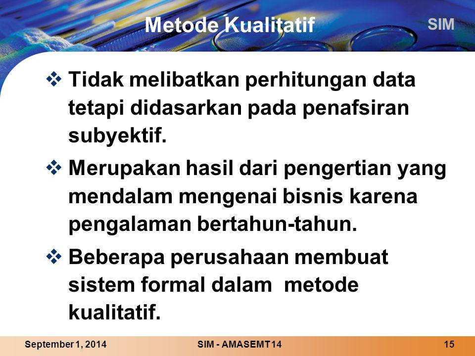 SIM SIM - AMASEMT 1415September 1, 2014 Metode Kualitatif  Tidak melibatkan perhitungan data tetapi didasarkan pada penafsiran subyektif.
