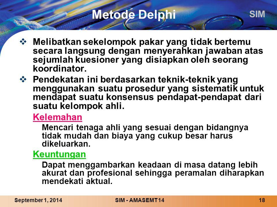 SIM SIM - AMASEMT 1418September 1, 2014 Metode Delphi  Melibatkan sekelompok pakar yang tidak bertemu secara langsung dengan menyerahkan jawaban atas sejumlah kuesioner yang disiapkan oleh seorang koordinator.