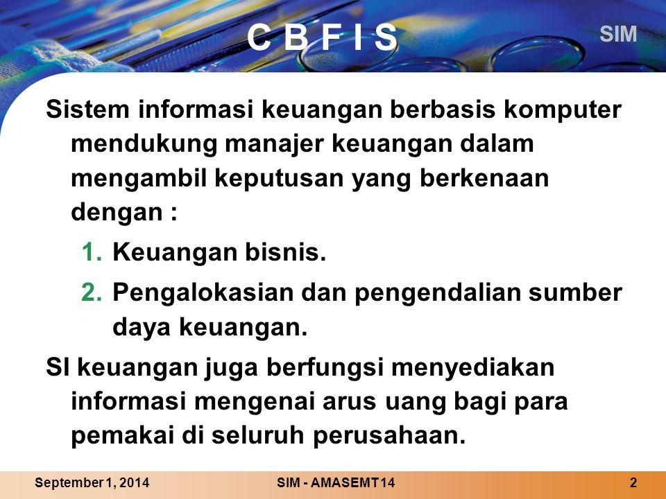 SIM SIM - AMASEMT 142September 1, 2014 C B F I S Sistem informasi keuangan berbasis komputer mendukung manajer keuangan dalam mengambil keputusan yang berkenaan dengan : 1.Keuangan bisnis.