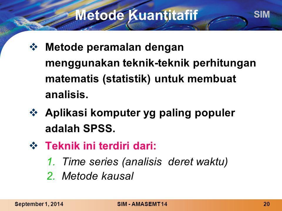 SIM SIM - AMASEMT 1420September 1, 2014 Metode Kuantitafif  Metode peramalan dengan menggunakan teknik-teknik perhitungan matematis (statistik) untuk membuat analisis.