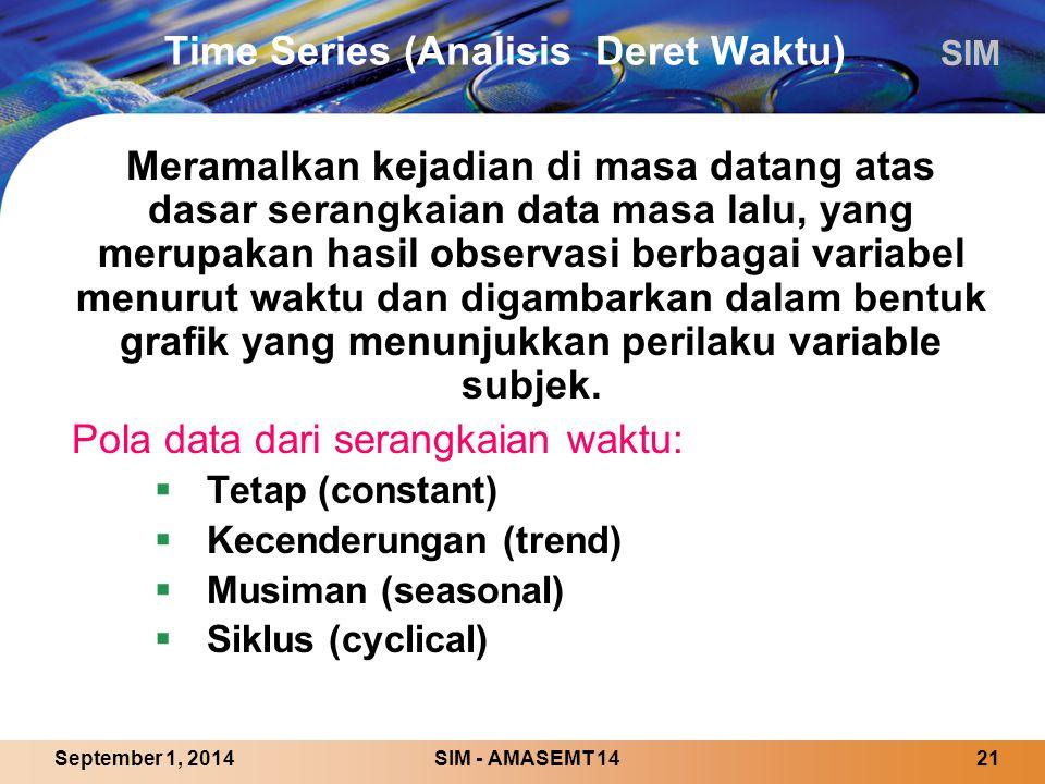 SIM SIM - AMASEMT 1421September 1, 2014 Time Series (Analisis Deret Waktu) Meramalkan kejadian di masa datang atas dasar serangkaian data masa lalu, yang merupakan hasil observasi berbagai variabel menurut waktu dan digambarkan dalam bentuk grafik yang menunjukkan perilaku variable subjek.