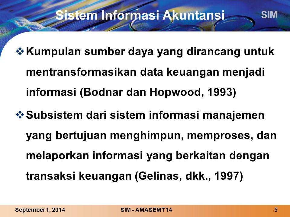 SIM SIM - AMASEMT 145September 1, 2014 Sistem Informasi Akuntansi  Kumpulan sumber daya yang dirancang untuk mentransformasikan data keuangan menjadi informasi (Bodnar dan Hopwood, 1993)  Subsistem dari sistem informasi manajemen yang bertujuan menghimpun, memproses, dan melaporkan informasi yang berkaitan dengan transaksi keuangan (Gelinas, dkk., 1997)