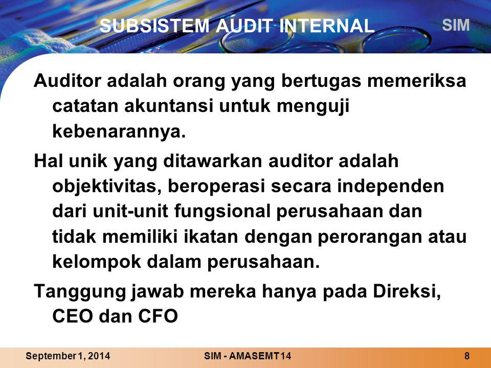 SIM SIM - AMASEMT 148September 1, 2014 SUBSISTEM AUDIT INTERNAL Auditor adalah orang yang bertugas memeriksa catatan akuntansi untuk menguji kebenarannya.