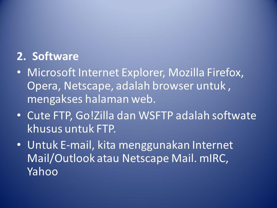 2.Software Microsoft Internet Explorer, Mozilla Firefox, Opera, Netscape, adalah browser untuk, mengakses halaman web.