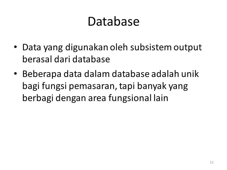 12 Database Data yang digunakan oleh subsistem output berasal dari database Beberapa data dalam database adalah unik bagi fungsi pemasaran, tapi banya