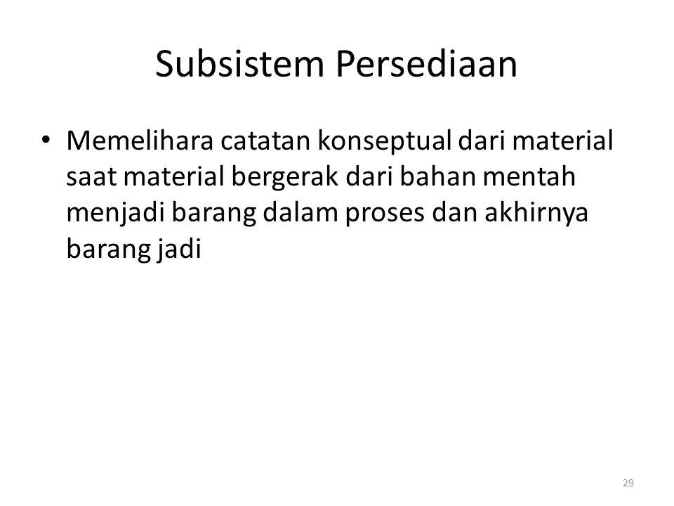29 Subsistem Persediaan Memelihara catatan konseptual dari material saat material bergerak dari bahan mentah menjadi barang dalam proses dan akhirnya